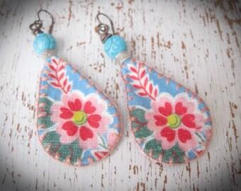 Hippie Bohemian-Dangle Earrings- Bohemian Jewelry- Flower Earrings- Fabric Earrings-Eco Friendly
