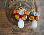 CARNIVALE EARRINGS, Colorful Cluster Earrings, Rainbow Jewelry,White Teardrops,Red Cathedral Beads,Multicolored Glass Earrings, Juicy Fruits