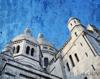 Le Sacre Coeur, PARIS Photography, Montmartre, Parisian Cathedral, Church on the Hill, French Decor, Church Spires Picture, Black and White