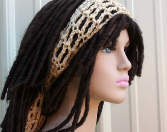 Tie head band, Beige buff Dread headband dreadband head hair band wrap scarf hippie bandana
