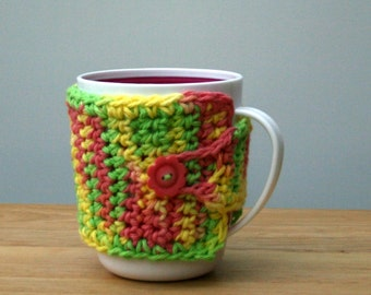 Sale Crochet Coffee cup cozy mug cozy cotton cozy cup cuff coral coffee cup sleeve mug warmer teacher gift