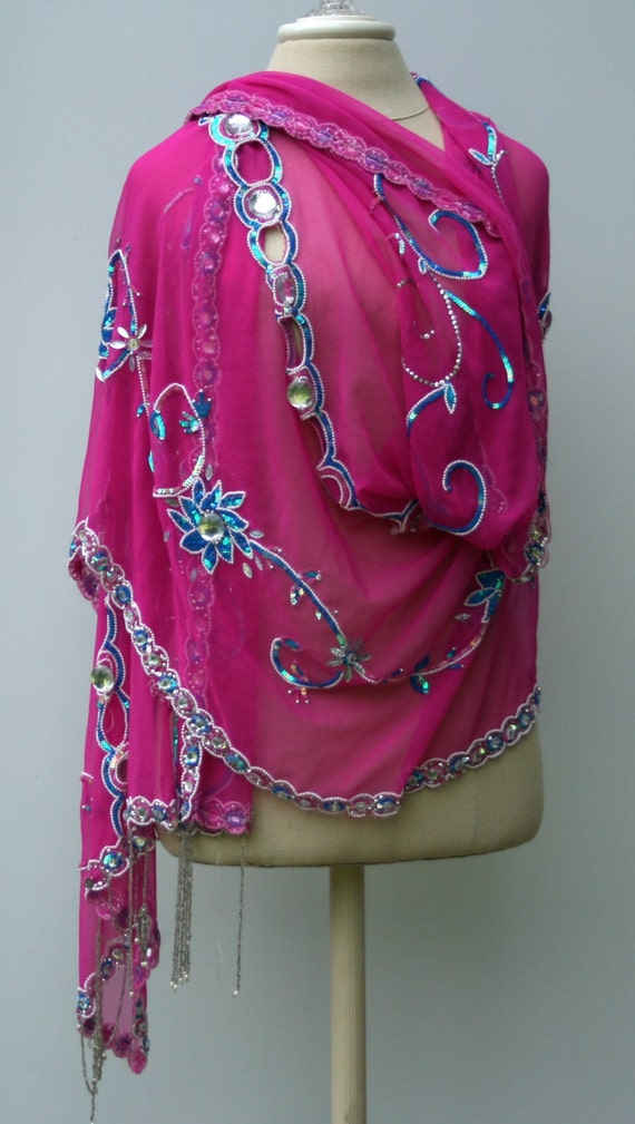 special occasion scarf wedding shawl sequined ethnic vintage