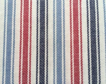 Ticking Stripe fabric with red, navy,denim blue stripes - one yard