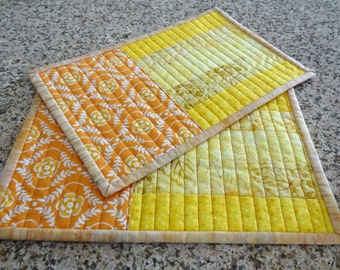 Sunny Batik Quilted Mug Rugs  -  Set of 2