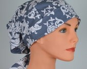 Scrub Hats // Scrub Caps // Scrub Hats for Women // The Hat Cottage // LARGE // Fabric Ties // Gray Damask
