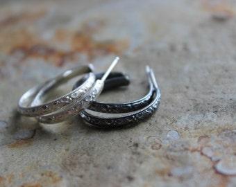 Faceted Diamond Pattern Sterling Silver Braid Post Hoop Earrings Gifts Under 50