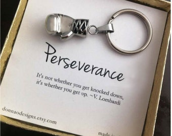 Boxing Glove Key Ring Key Fob Support Gift Ready to Ship Gift Perseverance