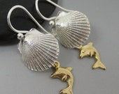 Fine Silver .999 Shell with 14kt Gold Filled Dolphin Sterling Silver Earrings