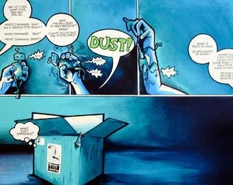 Original Robot Comic Art - Dust the Shelf 30x40
