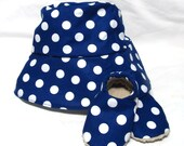 Navy Dots Sunhat with SPF50+ Lining Fabric and Velcro Straps 7 SIZES!