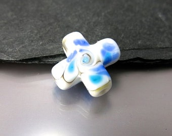 Handmade Lampwork Focal Bead by GlassBeadArt  ... Ink blue cross ... SRA F12 ... 20mm