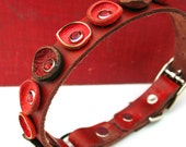 Eco-Friendly Curled Red Flower Leather Dog Collar, Size Small to fit a 9-12 inch Neck, Small Collar with Flowers, Unique Dog Collar, OOAK