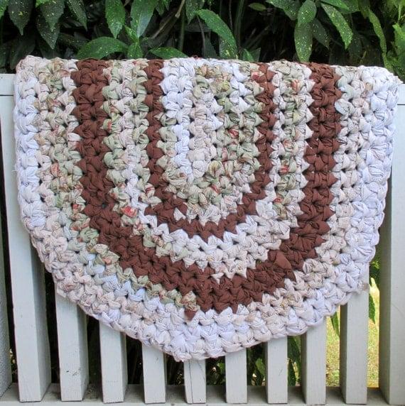 Brown Rug Oval Rug Crochet Rag Rug Handmade Rug By