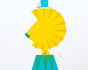 Big Top Lion - A4 sillscreen print