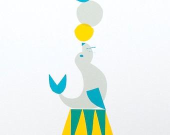 Big Top Seal - A4 silkscreen print