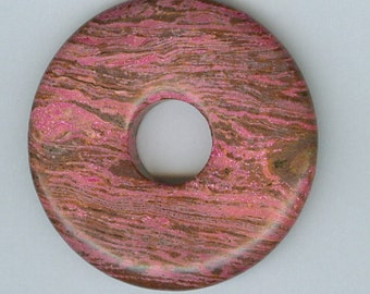 50mm Dyed Pink Agate PI Donut Pendant Gemstone Bead 505