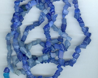 Blue Cats Eye Chip Beads - 32in Strand