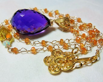 Purple Amethyst faceted briolette, Gemstone beads and Gold Necklace