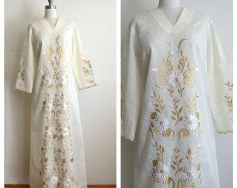 floral embroidered hippie wedding dress (m-lrg)