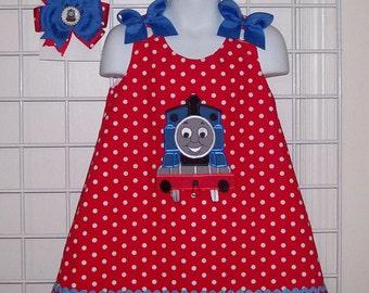 Red Polka Dot Thomas the Train Applique Monogram A-line Birthday Party Dress + Thomas Bottlecap Hair Bow