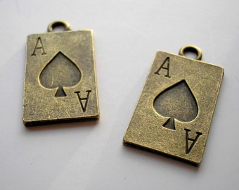 2 Ace of Spades - Pendants or Charms - Brass