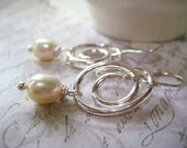 Swirl Earrings, Fine Silver, Sterling Silver, Natural Pearl, Hand Formed, White Pearl, AAA Pearl, June Birthday, Genuine Pearl