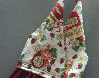 Hanging Dish Towel Strawberry Jam Fabric