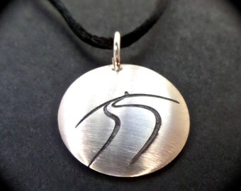 "Refugee Highway Pendant - 7/8"" Domed Brushed Sterling Silver Pendant on an 18"" Black Cord"