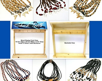 WHOLESALE 72 Shark Tooth Necklaces with POP Wood Counter Display Sharks Teeth Lot #3