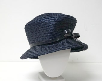SALE!!!  vintage blue bucket straw hat .  made in USA