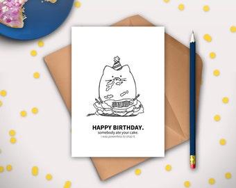 Funny Cat Birthday Card, Digital, Card from Cat, Happy Birthday Card, Funny Cat Card, Kitty Cat Birthday, Cat Lover