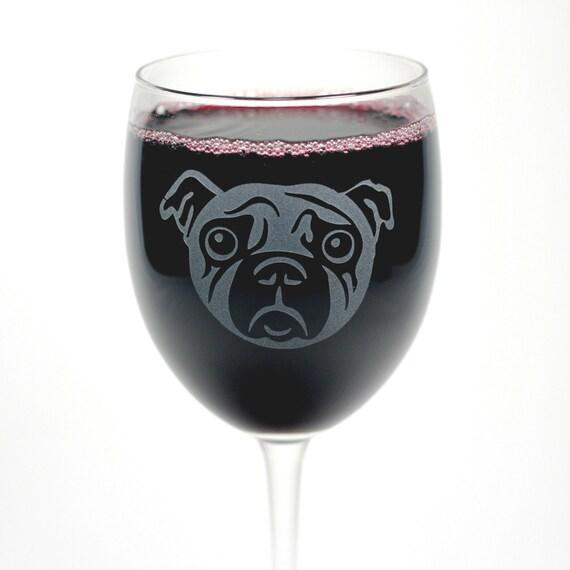 Sad Pug Dog Wine Glass - 12oz etched wedding glassware