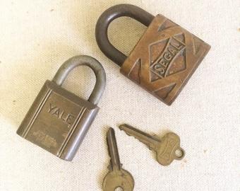 Cool Vintage Set of 2 Decorative Brass Padlocks Lock and Key