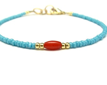 Coral Bracelet, Turquoise Bracelet, Seed Bead Bracelet, Tiny Bracelet, Hawaii Jewelry, Bridesmaid Jewelry, Gift for Her