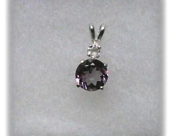 8mm Purple Amethyst and 3mm Goshenite Gemstones in 925 Sterling Silver Pendant Necklace