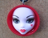 Monster High - Red bottle cap doll pendant