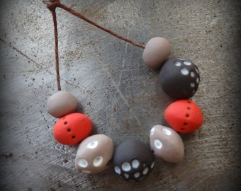 Clay Beads, Handmade, Hand Painted, Tribal, Set of 8, Monicaj