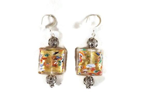 Klimt Earrings, Klimt Jewelry, Venetian Earrings, Italian Earrings, Art Earrings, Murano Earrings, Lamp Work Earrings, Art Gift
