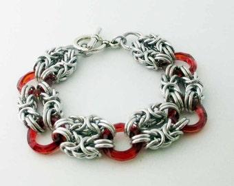 Red Swarovski Crystal Ring Byzantine Chainmaille Bracelet Handmade