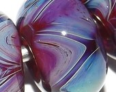 F17 10qty 11x6mm Fuchsia Purple Blue Boro Handmade Glass Beads Lori Robbins Lampwork Boro SRA