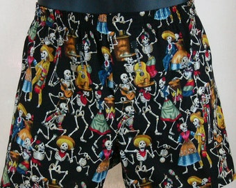 DAY of the DEAD cotton boxers - Dia de los Muertos