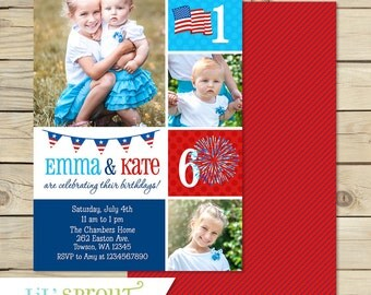 4th of July Birthday Invitation, Fourth of July Birthday Invitation, Patriotic Birthday Invitation, Red White Blue Joint Birthday Invitation