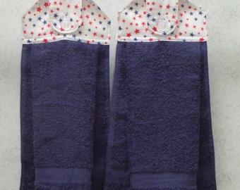 SET OF 2 - Hanging Cloth Top Kitchen Hand Towels - Patriotic Stars Print, Navy Blue Towels