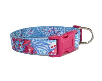 Picker's Picnic Dog Collar Made from Lilly Pulitzer Fabric Size: Your Choice