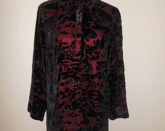 Vintage 90s  Beautiful velvet  burnout burn out blouse shirt with sequins