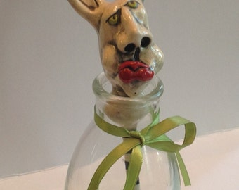 Ceramic Bunny Foo Foo Head Perfume Dauber in Cute Vase