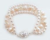 Bridal Bracelet, Wedding Bracelet, Swarovski Pearl Bracelet, Wedding Bracelet Jewelry, Statement  Freshwater Pearl Ivory Blush