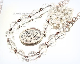 St Michael Guardian Angel Necklace Religious Medal Crystal Rosary Chain Necklace