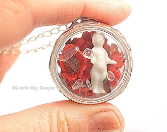 Frozen Charlotte Locket Necklace Doll in Dome Necklace Tiny Frozen Charlotte Garnet & Quartz Pendant