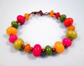Gemstone Bracelet, Jade Stone Beads, Colorful and Copper Beaded Bracelet, FREE Shipping U.S.